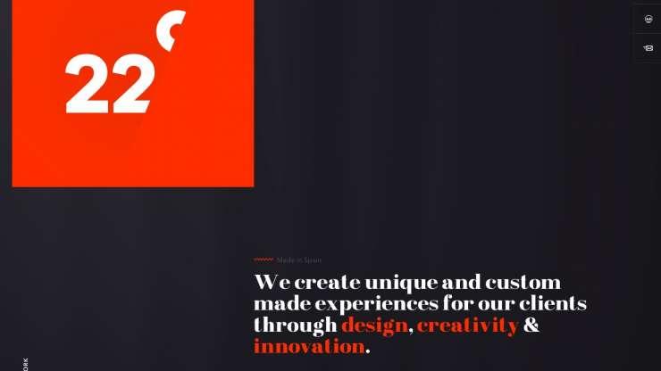 aszimmetrikus piros és fekete webdesign